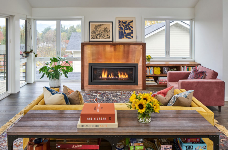 Bold color accents and bohemian chic defines this modern home renovation in Portland, Oregon.
